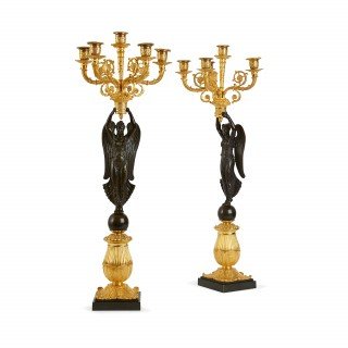 Pair of gilt and patinated bronze Empire period candelabra attributed to Claude Galle