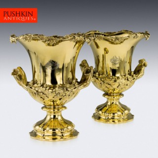 ANTIQUE 19thC VICTORIAN SOLID SILVER-GILT WINE COOLERS, SMITH & NICHOLSON c.1850