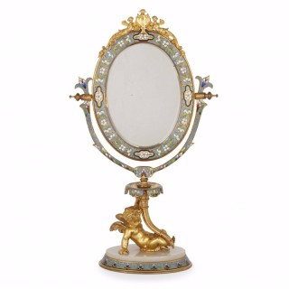 Gilt bronze mounted champlevé enamel and alabaster antique dressing table mirror