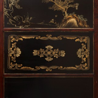 Chinese lacquered wood, jade, quartz and ivory six panel folding screen