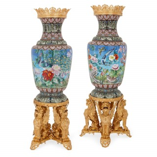 Pair of large Chinese cloisonné enamel vases with gilt bronze mounts
