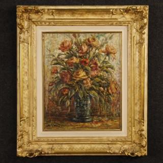 20th Century Italian Still Life Painting Oil On Canvas