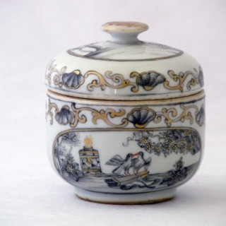 Chinese 18th Century Engrisaille or Encre de Chine Decorated  Sucrier
