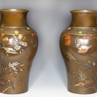 LARGE PAIR OF JAPANESE BRONZE AND MIXED METAL VASES