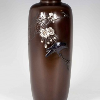 NICE QUALITY JAPANESE BRONZE AND MIXED METAL BIRD VASE