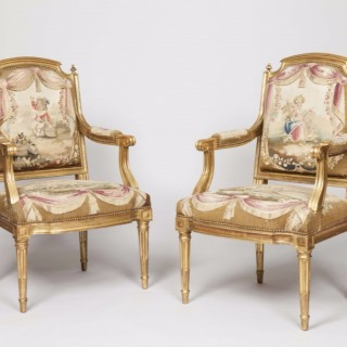Pair of Giltwood and Tapestry Armchairs