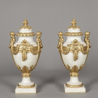 Pair of French Carrara Marble and Gilt Urns