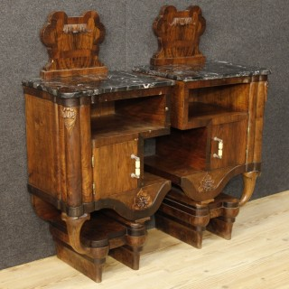20th Century Pair Of Italian Bedside Tables In Walnut With Marble Top