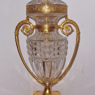 A French ormolu mounted crystal cut lamp