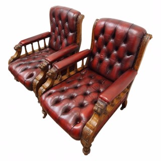 Pair of Oak Library Chairs in Maroon Leather