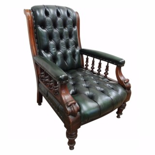 Mahogany Library Chair in Green Leather