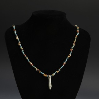 Egyptian New Kingdom Bead Necklace with Papyrus Amulet