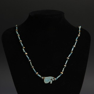 Egyptian New Kingdom Bead Necklace with 'Eye of Horus' Amulet
