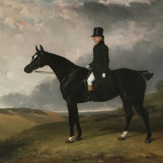"Portrait of Daniel Haigh of the Old Surrey on his dark bay hunter ""Kitten"" in a rolling landscape"