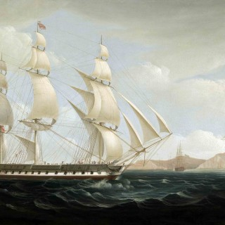 "The East Indiaman ""Ceres"" (High Scott, Captain) in two positions off St Helena"