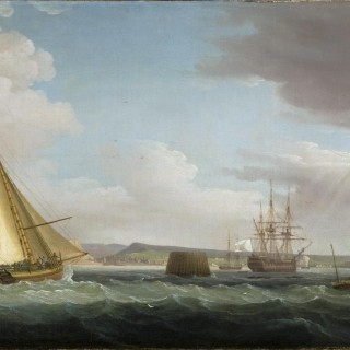 A navy yacht flying the white ensign coming up to harbour in the Downs; a French frigate at anchor beyond; a rain shower approaching