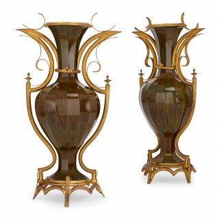 Pair of rare gilt bronze mounted Lithyalin glass antique vases