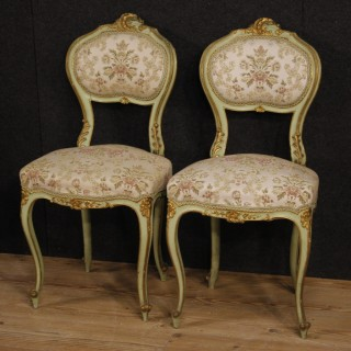 20th Century Pair Of Venetian Lacquered And Gilt Chairs
