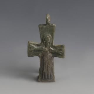 Byzantine Bronze Decorated Cross