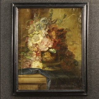 19th Century Italian Still Life Painting Vase With Flowers