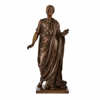 Patinated bronze sculpture of a Roman emperor by Mathurin Moreau