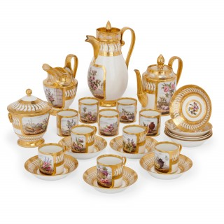 French Empire period antique Paris porcelain tea and coffee set