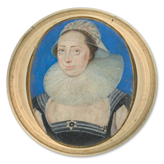 Portrait miniature of a Lady, wearing black bodice over white-sleeved gown, a diaphanous fichu decorated with rosettes, a white ruff and cap decorated with lace and flowers and trimmed with gold lace; blue background with gold border