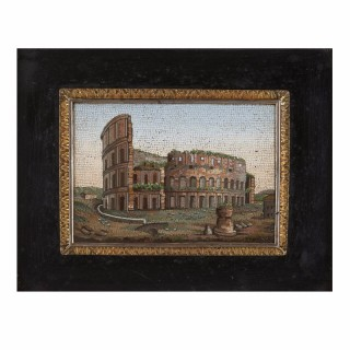 Fine Italian antique micromosaic plaque depicting the Colosseum