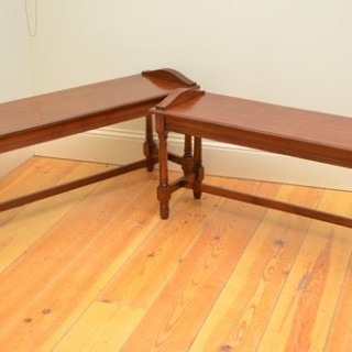 Pair of Edwardian Walnut Benches