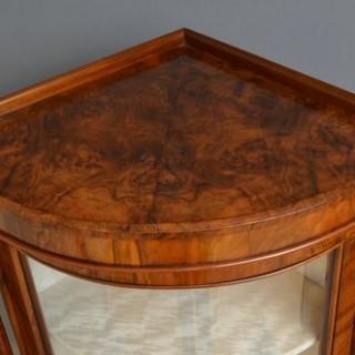 Victorian Walnut Corner Display Cabinet