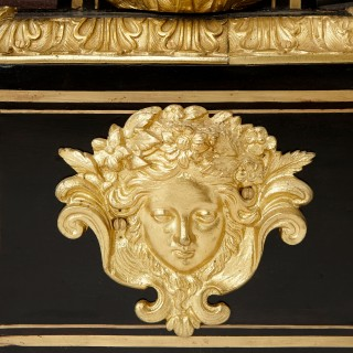 Gilt bronze, ebonised wood and inlaid brass and tortoiseshell Boulle work antique vitrine cabinet