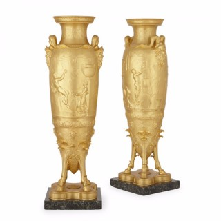 Pair of large and impressive gilt bronze vases by Ferdinand Barbedienne and Ferdinand Levillain