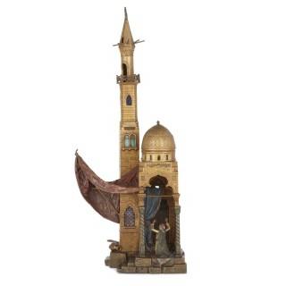 Cold painted antique Viennese bronze Orientalist lamp by Franz Xaver Bergman