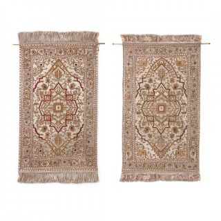Pair of antique Turkish silk and metal thread rugs from Hereke
