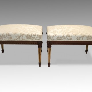 Antique Victorian Pair of Walnut & Parcel Gilt Stools Louis XVI Style