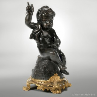 Patinated Bronze Putto Figure