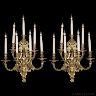 Pair of Regence Style Gilt-Bronze Wall Appliques