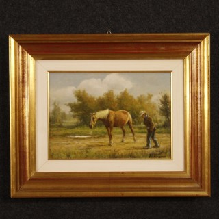 20th Century Italian Signed Painting Landscape With Horse And Farmer