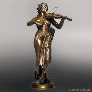 'The Violinist'  - Patinated Bronze Figural Sculpture