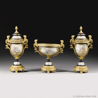 Napoléon III Gilt-Bronze Mounted Sèvres- Style  Garniture Set