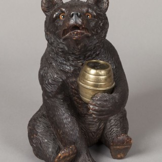 Carved Black Forest Bear Jar
