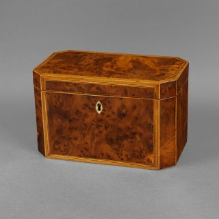 George III Period Burr Yewwood Tea Caddy of canted octagonal shape