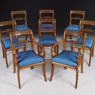 Set of 8 Regency mahogany and ebony inlaid dining chairs
