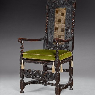 Charles II Carved Walnut Armchair