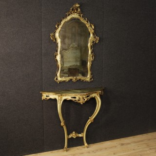 20th Century Venetian Lacquered Console Table With Mirror