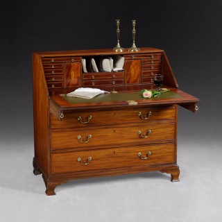 George III Mahogany and Inlaid Gentleman's Bureau