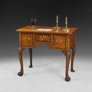 George II inlaid oak lowboy