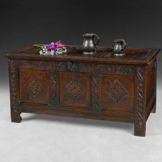 Queen Anne period carved oak coffer