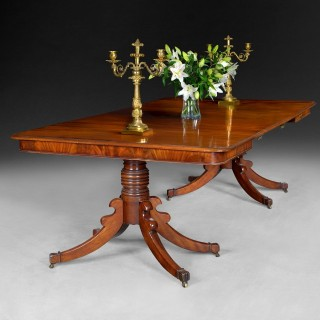 Regency Mahogany 2 pillar dining table with 2 leaves