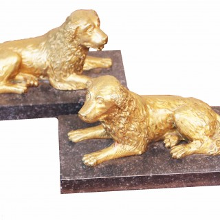 Antique 19th Century Ormolu Pair Of Spaniels